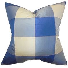 Capture a classic and sleek look to your interior with this decor pillow. Featuring a plaid pattern in shades of blue and white, this square pillow can easily dress up your sofa, bed or seat. Add in solids and other patterns from our pillow collection for a contemporary twist in your living space. Constructed with 100% fine quality silk material and 100% US-made. $55.00 #plaidpillow #pillows #bluepillow #homedecor