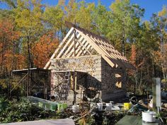 Cordwood cabin in progress. More great pictures here: http://thecordwoodonpinewood.blogspot.com