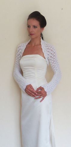 Wedding Top Lace Bridal Shrug Wedding bolero by HandmadeLaremi Wedding Shrug, Bridal Shrug, Crochet Shrug Pattern, Crochet Lace, Bolero Crochet, Bolero Pattern, Hand Crochet, Shrugs And Boleros, Crochet Wedding