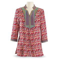 Embroidered Ikat Kurta - New Age, Spiritual Gifts, Yoga, Wicca, Gothic, Reiki, Celtic, Crystal, Tarot at Pyramid Collection