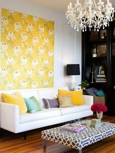 Living Room with Fabric Panel. Hmm.. this would be a neat way to quickly freshen up a room without paint.