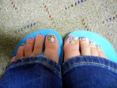Blue tips with design on the toes