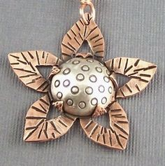 Sterling Silver and Copper Mixed Metal Mod Flower by lpjewelry------nice bezel idea: