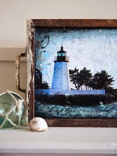 """mixed media in antique white flat drawer """"Newport Harbor Light No. 3,"""" 18""""x7.5""""  to go into the world : the artwork of mae chevrette"""