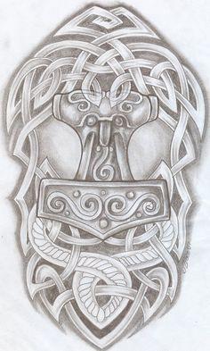 DeviantArt: More Like Thor's Hammer Tattoo by Thor Tattoo, Norse Tattoo, Celtic Tribal, Celtic Art, Celtic Patterns, Celtic Designs, Thors Hammer Tattoo, Buddha Tattoos, Tattoo Studio