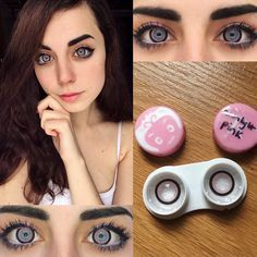 "hanks to @boxturtlecosplay for the LENS REVIEW: ""#MoonlightPink COLOR: A pale powder pink with a thick bold outer rim. These are great for enlarging the eyes and are SUPS adorable! In direct light your pupils may shrink and expose your natural color."