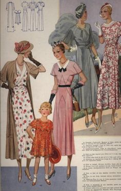 Lovely spring fashions for ladies and little misses, 1933. #vintage #1930s #dresses