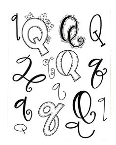 Letter q from handwriting fonts, penmanship, hand l Doodle Fonts, Doodle Lettering, Creative Lettering, Lettering Styles, Brush Lettering, Hand Lettering Alphabet, Calligraphy Letters, Caligraphy, Fancy Letters