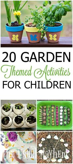 20 Garden Themed Activities for Children - a whole season's worth of learning and exploration! - garden themed creative activities for children Garden Crafts For Kids, Preschool Garden, Summer Crafts For Kids, Preschool Crafts, Garden Projects, Projects For Kids, Garden Ideas For Toddlers, Kids Crafts, Fall Preschool