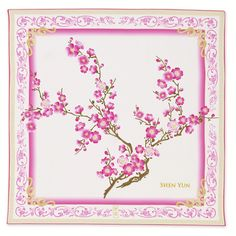 Plum flowers in full bloom, signifying the upcoming arrival of spring. This airy scarf is as delicate as a gentle breeze.