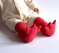 Knitted Bird Leg Baby Booties  Long and by TheMiniatureKnitShop