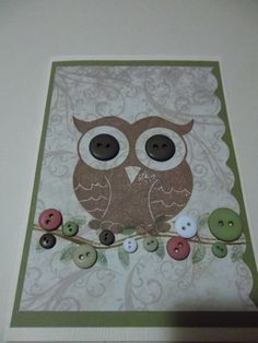 Card  Button Owl by StuntCards on Etsy, $6.00