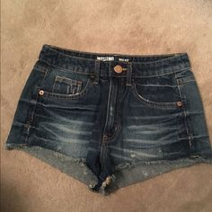 NWOT high-waist denim shorts NWOT high-waisted Jean shorts. Dark wash with acid wash detailing! Size 7, but it's not a true 7. I'm a TRUE 2 and these fit me. Mossimo Supply Co. Shorts Jean Shorts