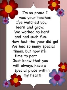 End of the Year Letter from Teacher to Student by Miss P's PreK Pups Teacher Poems, Message For Teacher, Student Teacher Gifts, Letter To Teacher, Student Teaching, Parent Letters, Farewell Message To Students, Preschool Graduation Poems, Preschool Poems
