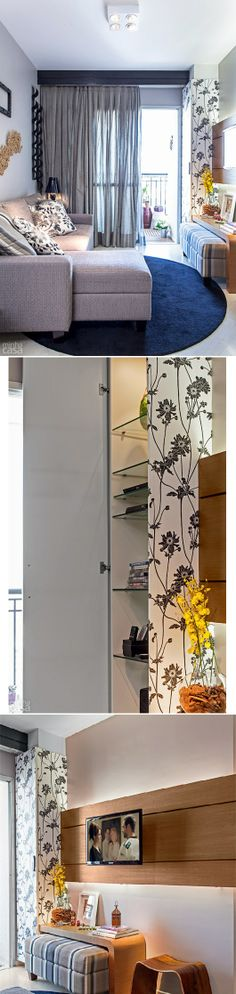 Um dente na alvenaria, que poderia ser um empecilho na decoração, foi envolvido por um armário sob medida. Com estrutura de MDF cru e prateleiras de vidro, a peça foi coberta externamente com o mesmo papel de parede florido que aparece no hall de entrada. Marcenaria: armário estreito (0,40 x 0,50 x 2,20 m, R$ 1 580), e painel multiúso (5 x 1,20 m, R$ 3 250). Osmar Meloqueiro. Projeto da designer Elvira Monteiro.