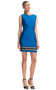 Engineered Stripes Sheath Dress In Royal Blue by Sea