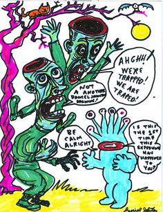 "Daniel Johnston early drawing | DANIEL JOHNSTON- ""Trapped"" Science Fiction Art Retro, Japanese Art, Artist Inspiration, Surreal Art, Sketch Book, Weird Drawings, Aesthetic Collage, Outsider Art, Doodle Books"