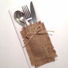 Hessian Cutlery Holder Rustic Plain - That Little Shop