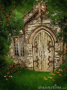 Old cottage among trees by Unholyvault, via Dreamstime