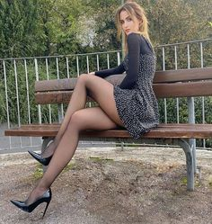 Great Legs, Beautiful Legs, Sexy Dresses, Nice Dresses, Le Jolie, Beautiful Women Pictures, Tights Outfit, Black Tights, Belted Dress
