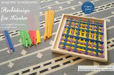 Spiel für Kinder nach Fröbel. Flechten bzw. Weben mit Streifen! Hier aus farbigen Holzspänen. Daraus können Kinder schöne Muster legen. Entweder einfach übereinander schichten oder miteinander verschränken. Das Spiel gibt es im FRÖBELSHOP zu kaufen. (Original Fröbel)