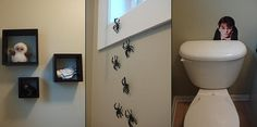 I love the Moaning Myrtle behind the toilet and the spiders climbing up the wall!  That's awesome!