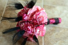 Black Peacock Wedding Bouquet - Hot Pink and Black
