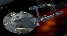 Star Trek Celebrating The Ships of The Line: The USS Hood (NCC-1703) - The 23rd century Constitution-class starship took a beating during a M-5 battle simulation when the computer-controlled USS Enterprise fired upon her. The event occurred in 2268, as the Hood, Enterprise, Lexington, Excalibur and Potemkin engaged in war games, only to have the games turn dangerously real...