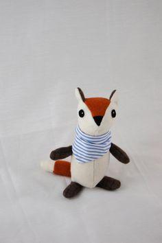 Fox Doll--Blue Striped Scarf