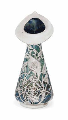 AN UNUSUALLY LARGE LOETZ IRIDESCENT GLASS VASE WITH SILVER APPLIQUÉ -  CIRCA 1900 | JV