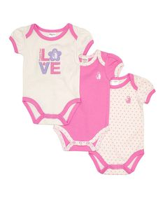 This Rugged Bear Pink 'Love' Bodysuit Set - Infant by Rugged Bear is perfect! #zulilyfinds