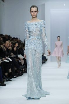 Elie Saab 2012. This gown is a little more baby blue than mint, but reminiscent of a popular color scheme designers have debuted on the runways for this fall/winter. Mint and sea foam green will probably be big this spring .. Blair's gown!!