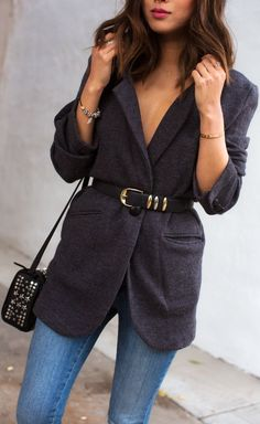 Belted Blazer and Skinny Jeans