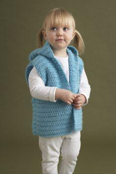 Wee Vest Pattern Free Crochet Pattern from Lion Brand Yrn Crochet Toddler, Crochet Girls, Crochet Baby Clothes, Love Crochet, Crochet For Kids, Knit Crochet, Crochet Lion, Crochet Vest Pattern, Crochet Jacket