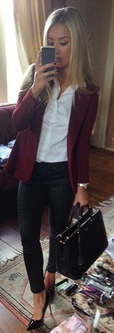 nice outfit for work with marsala blazer and black heels