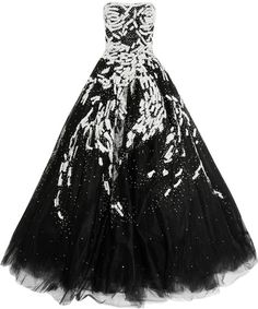 "Marchesa Black Embroidered Silk Tulle Gown     ""Light-catching sequins dance across the bodice whilst a structured gauze underskirt gives added volume to this stunning design"""