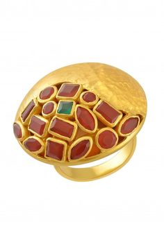 Silver Gold Plated Textured Red Onyx Dome Ring