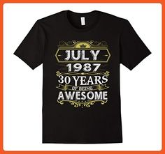 Mens Awesome July 1987 - 30th Birthday Gifts Funny Tshirt 2XL Black - Funny shirts (*Partner-Link)