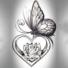 heart shape butterfly tattoo design tattoos tattoos, butterfly - rose and butterfly drawing Rose And Butterfly Tattoo, Butterfly Drawing, Butterfly Tattoo Designs, Tattoo Flowers, Butterfly Wings, Rose Heart Tattoo, Butterfly Tattoos For Women, Feather Drawing, Simple Butterfly