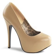 Teeze 06 Tan Matt 5 3/4 Inch Stiletto Heeled Platform Court Shoes