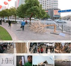 used chopsticks transformed into a fallen tree speaks volumes about forest desecration for food industry use. Chopsticks, Food Industry, Autumn Trees, Installation Art, Shanghai, 3 D, Environment, Table Decorations, Fallen Tree