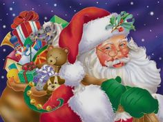 This is a beautiful old Santa and his bag full of goodies that are sure to delight any child on Christmas morning. Description from appleblossomart.net. I searched for this on bing.com/images