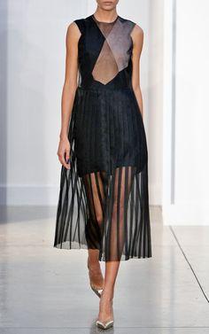 Box Pleat Midi Dress With Sheer Top And Box Pleat Skirt by Barbara Casasola for Preorder on Moda Operandi