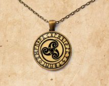 Celtic Spiral necklace Occult pendant  Rune jewelry