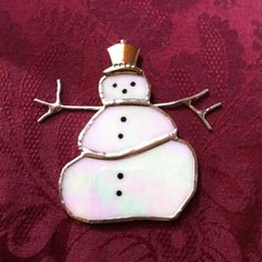 Handcrafted Stained Glass   SNOWMAN  by BluePearEmporium on Etsy
