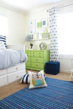 Home Tour from A Thoughtful Place---lovely boy's bedroom.