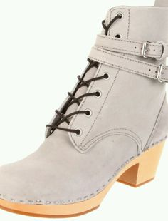 Swedish Hasbeens Clogs Women's Grey Combat Boots 36 6 6.5 Lace Buckle Ankle