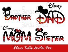 Disney Family Vacation Iron On Applique Pack DIY.perfect for us Daniel LOL .