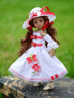 """SOLD """"Summer Tea Party""""Dress,Outfit,Clothes for 13""""Effner Little Darling by Lumi #ClothingAccessories"""