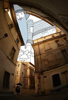 Thomas Lamadieu's 'Sky Art' Involves Whimsical Drawings in the Space Between Buildings